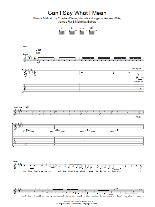 Can't Say What I Mean Sheet Music