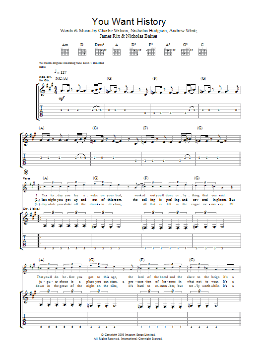 You Want History (Guitar Tab)