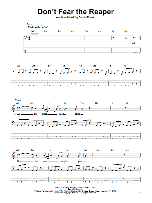 Don't Fear The Reaper (Bass Guitar Tab)