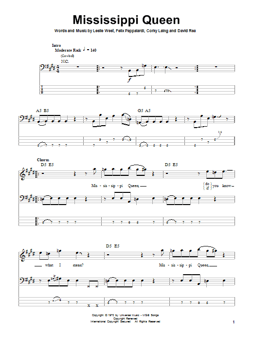 Tablature guitare Mississippi Queen de Mountain - Tablature Basse
