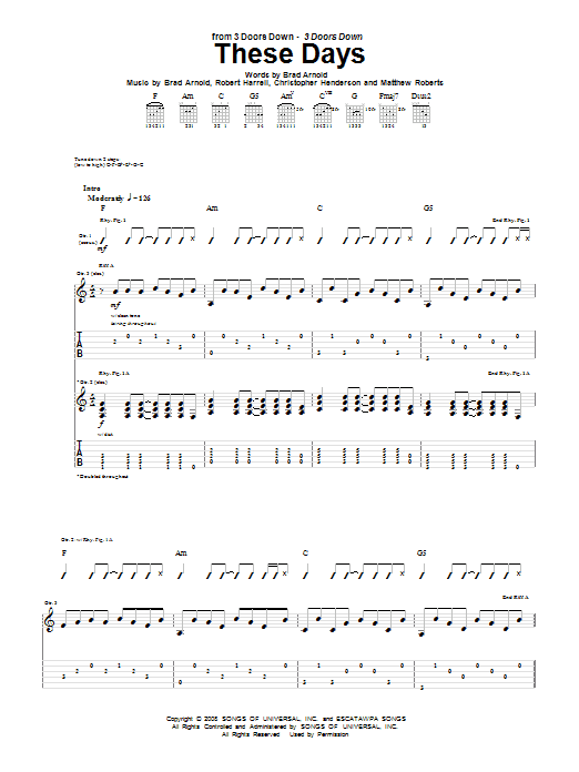 These Days Sheet Music