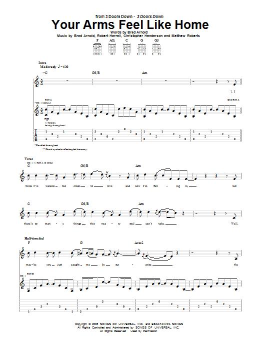 Your Arms Feel Like Home (Guitar Tab)