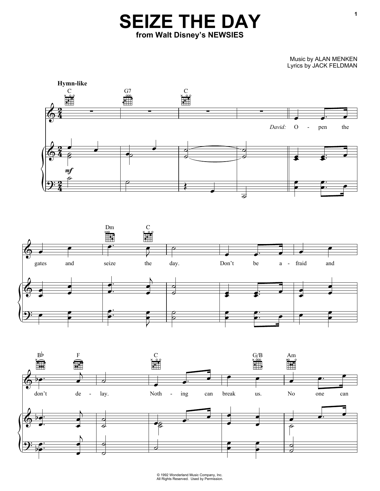 Seize The Day Sheet Music