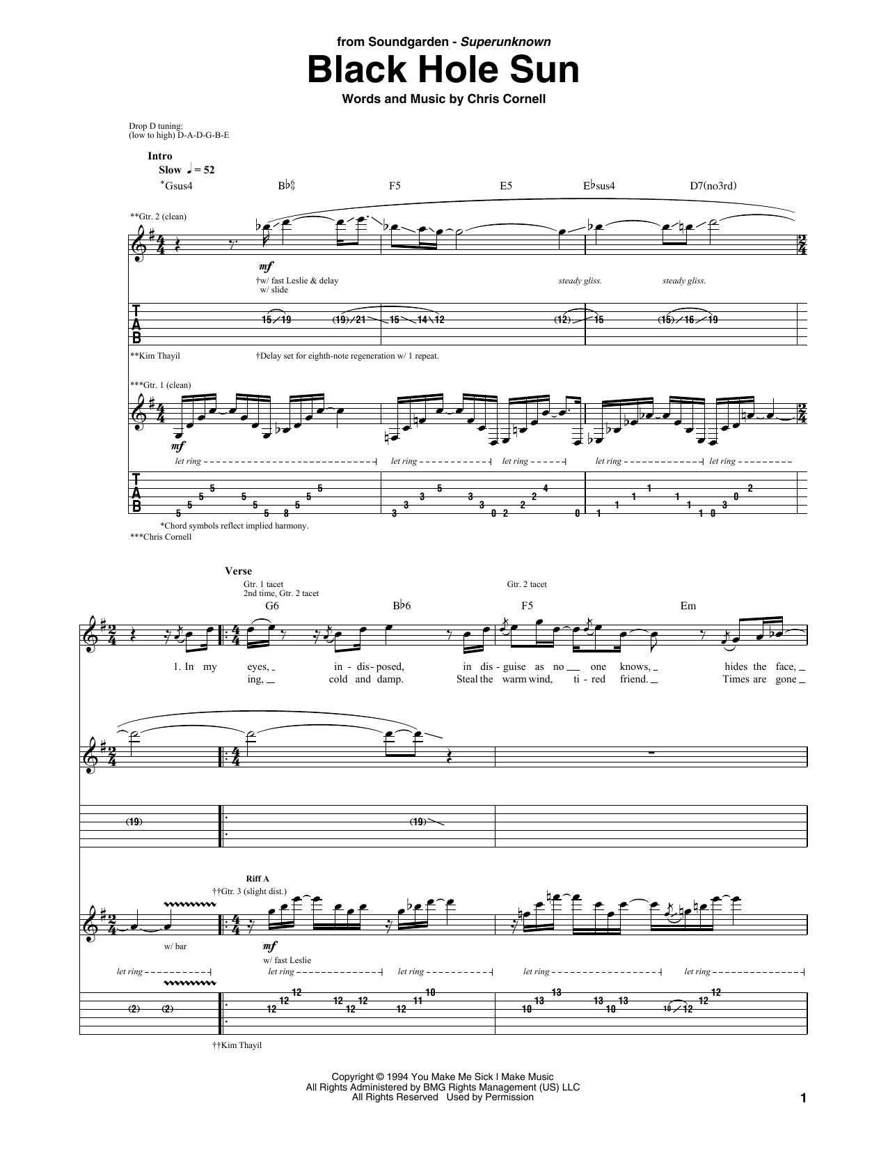 Black Hole Sun | Sheet Music Direct