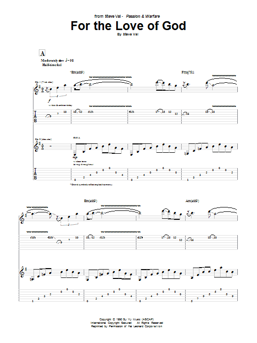 Tablature guitare For The Love Of God de Steve Vai - Tablature Guitare