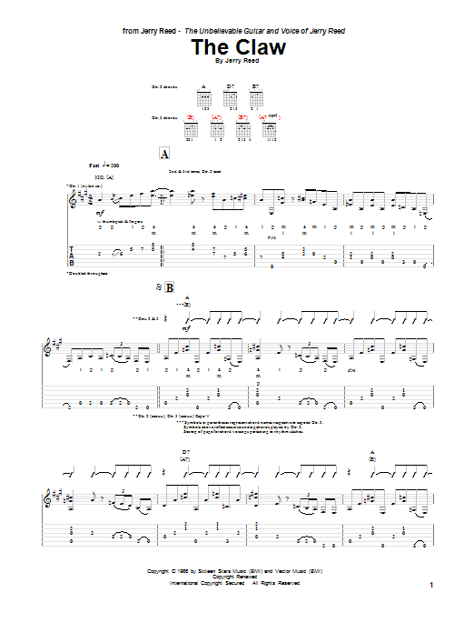 Tablature guitare The Claw de Jerry Reed - Tablature Guitare