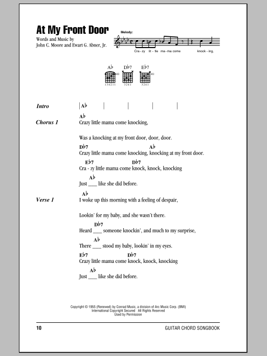 At My Front Door Sheet Music Pat Boone Lyrics Chords