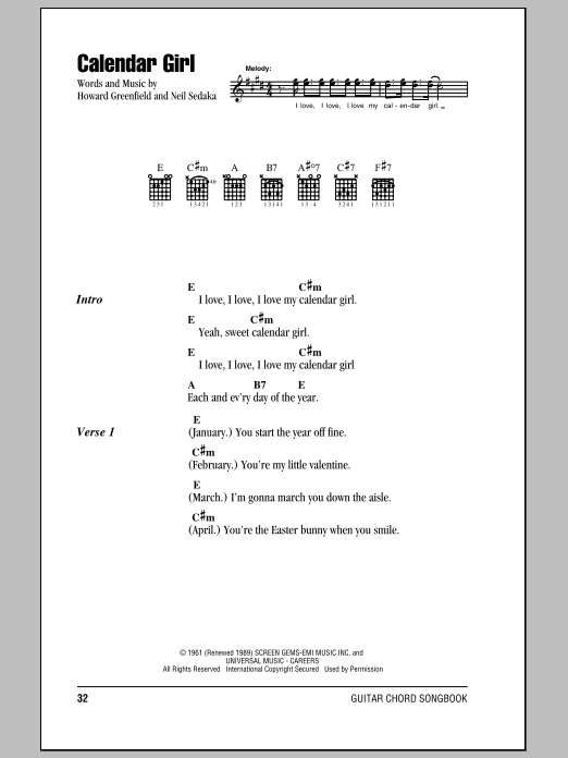 Calendar Girl (Guitar Chords/Lyrics)