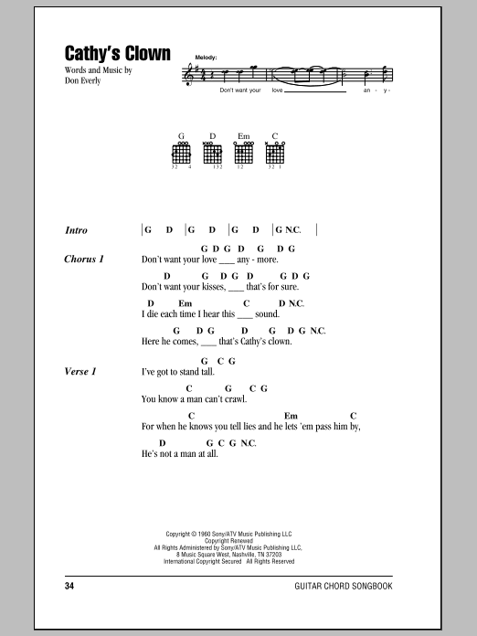 Cathy's Clown Sheet Music