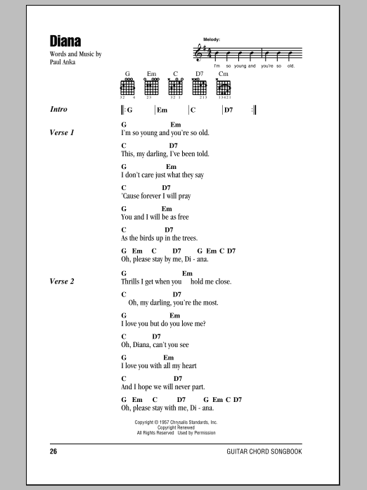 Diana Sheet Music