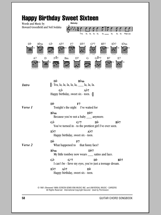 Happy Birthday Sweet Sixteen Sheet Music Neil Sedaka Lyrics Chords