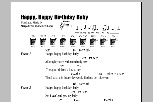 Happy, Happy Birthday Baby sheet music by The Tune Weavers (Lyrics ...