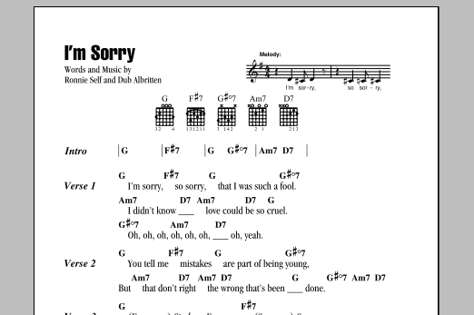 I'm Sorry Sheet Music