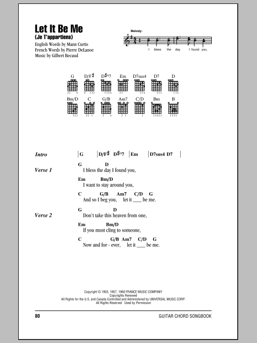 Let It Be Me Je Tappartiens Sheet Music By Elvis Presley Lyrics