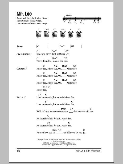Mr. Lee Sheet Music