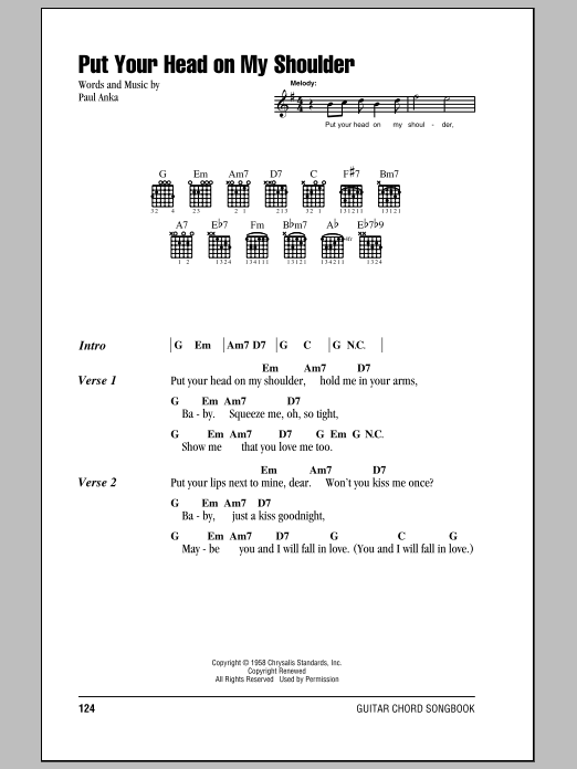 Put Your Head On My Shoulder Sheet Music Paul Anka Lyrics Chords