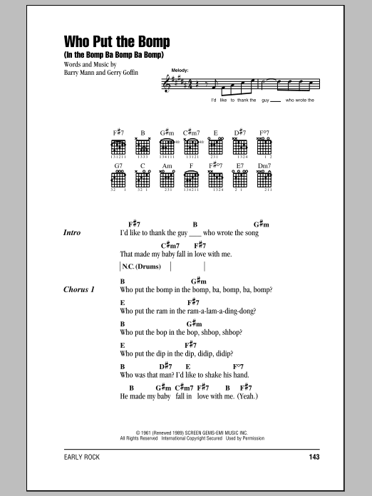 Who Put The Bomp (In The Bomp Ba Bomp Ba Bomp) Sheet Music