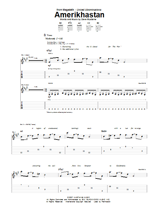Amerikhastan Sheet Music
