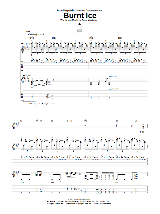 Tablature guitare Burnt Ice de Megadeth - Tablature Guitare