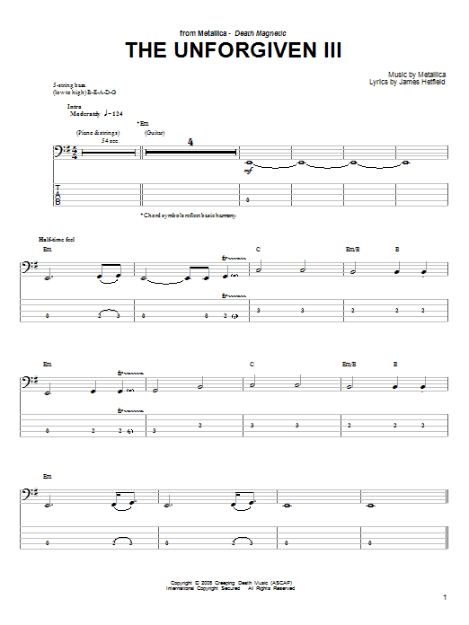 Tablature guitare The Unforgiven III de Metallica - Tablature Basse