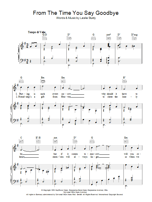From The Time You Say Goodbye Sheet Music