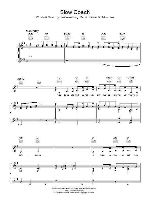 Slow Coach (Piano, Vocal & Guitar)