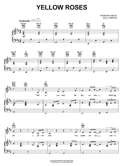 Yellow Roses (Piano, Vocal & Guitar (Right-Hand Melody))