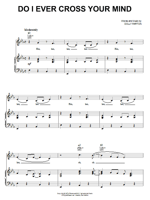 Do I Ever Cross Your Mind (Piano, Vocal & Guitar (Right-Hand Melody))
