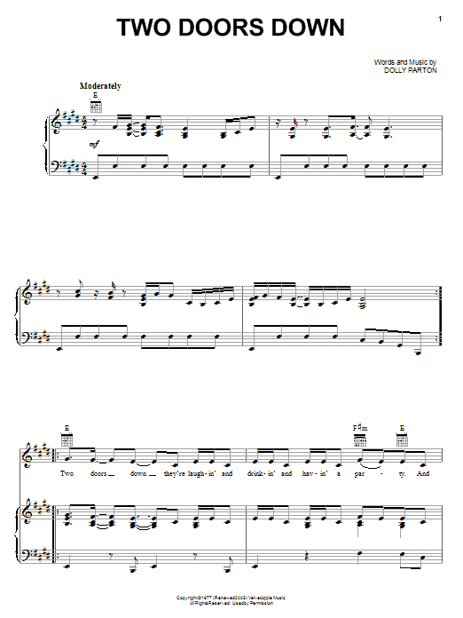 Two Doors Down (Piano, Vocal & Guitar (Right-Hand Melody))