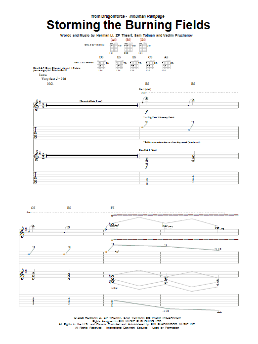 Tablature guitare Storming The Burning Fields de DragonForce - Tablature Guitare