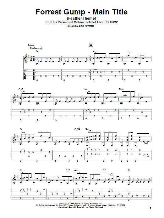 Tablature guitare Forrest Gump - Main Title (Feather Theme) de Alan Silvestri - Tablature Guitare