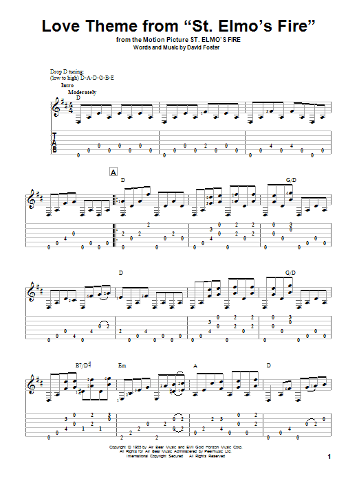 Tablature guitare Love Theme From St. Elmo's Fire de David Foster - Tablature Guitare