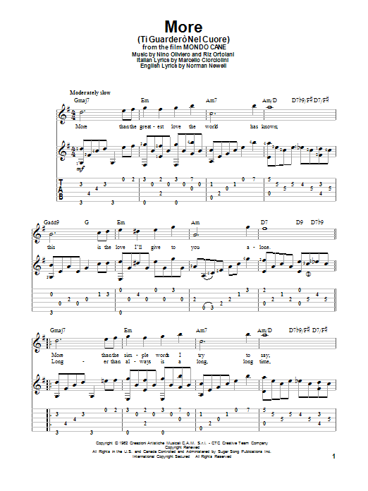 Tablature guitare More (Ti Guardero Nel Cuore) de Marcello Ciorciolini - Tablature Guitare