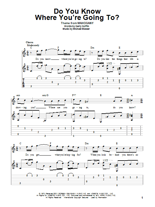 Do You Know Where You're Going To? Sheet Music