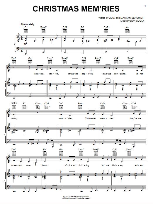 Christmas Mem'ries (Piano, Vocal & Guitar (Right-Hand Melody))
