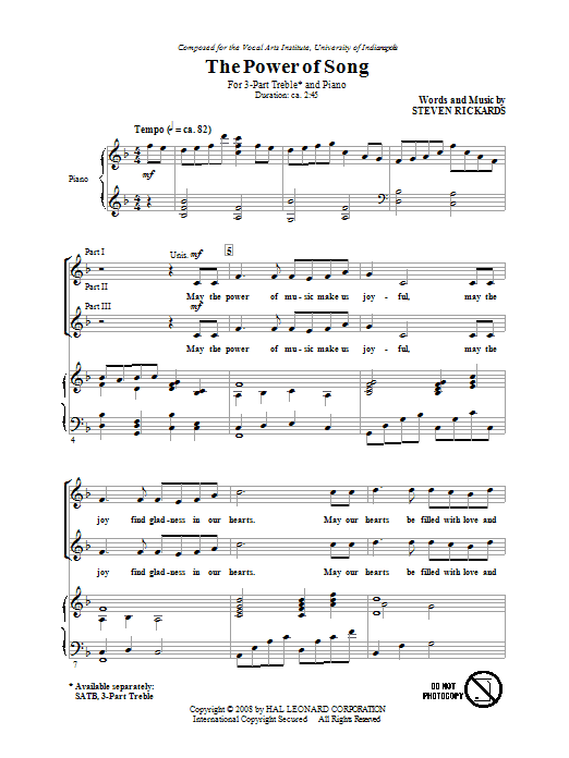 The Power Of Song (3-Part Treble Choir)