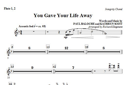 You Gave Your Life Away - Flute 1 & 2 Sheet Music