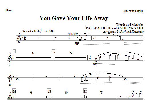 You Gave Your Life Away - Oboe Sheet Music