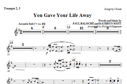 You Gave Your Life Away - Trumpet 2 & 3 Sheet Music