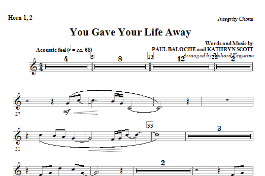 You Gave Your Life Away - Horn 1 & 2 Sheet Music
