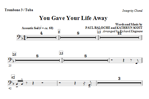 You Gave Your Life Away - Trombone 3/Tuba Sheet Music