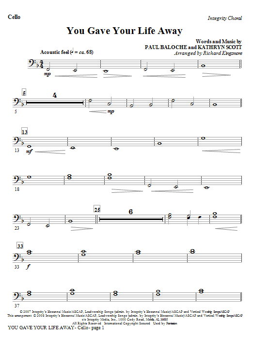 You Gave Your Life Away - Cello/Bassoon Sheet Music