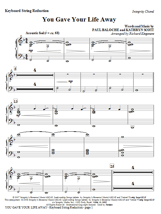 You Gave Your Life Away - Keyboard String Reduction Sheet Music