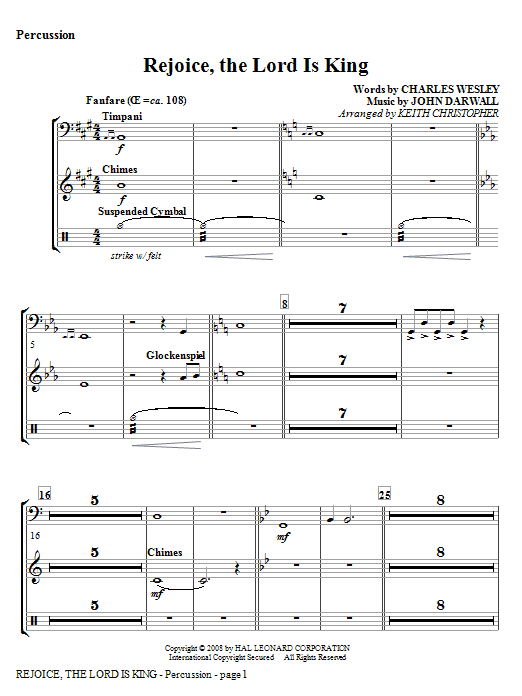 Rejoice, The Lord Is King - Percussion Sheet Music