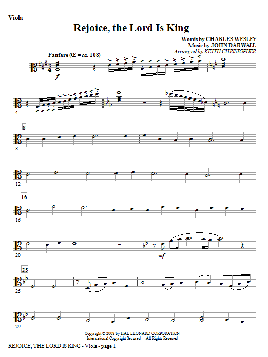 Rejoice, The Lord Is King - Viola Sheet Music