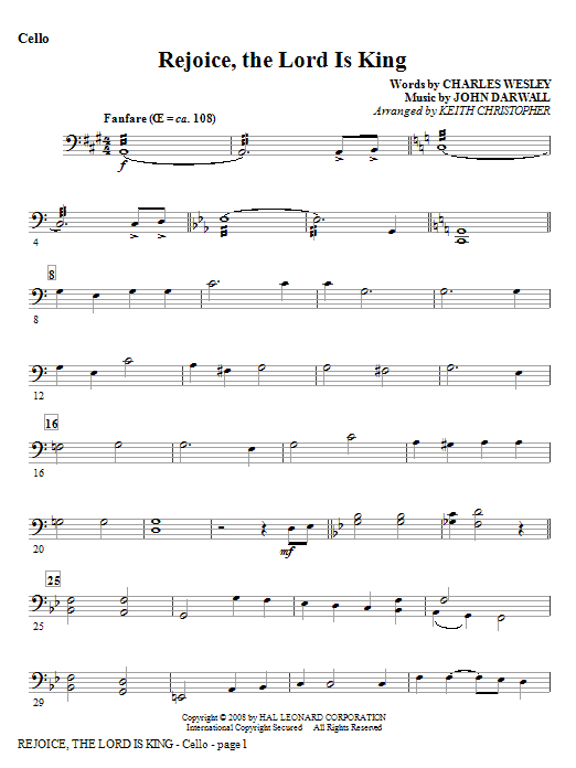 Rejoice, The Lord Is King - Cello Sheet Music