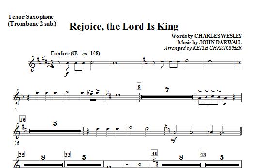 Rejoice, The Lord Is King - Tenor Sax (Trombone 2 sub) Sheet Music