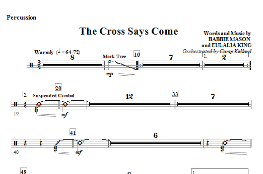 The Cross Says Come - Percussion Sheet Music