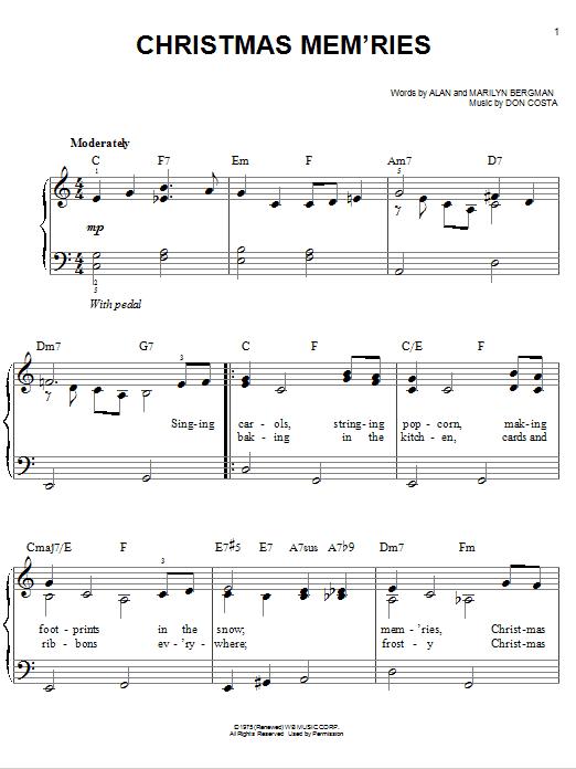 Christmas Mem'ries (Easy Piano)