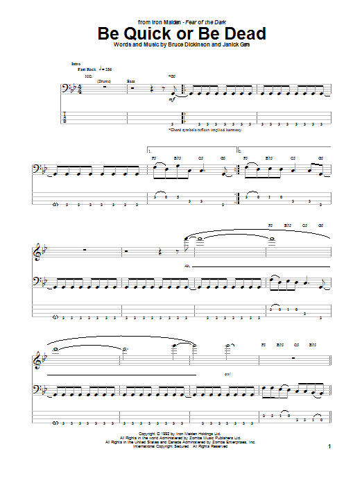 Be Quick Or Be Dead (Bass Guitar Tab)